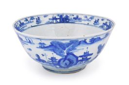 A Safavid large blue and white fritware bowl