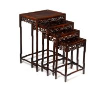 A set of Chinese graduated hardwood quartetto occasional tables