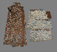 A group of Chestnut silk Chinese fragments from an 18th century dragon robe