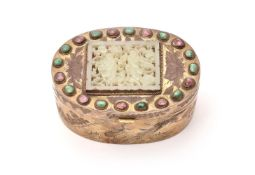 A Chinese gilt-copper jade and hardstone-mounted oval box and cover