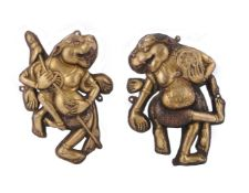 Two repousse copper relief figures of deities
