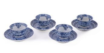 Four Chinese blue and white 'crab and fish' tea bowls and saucers