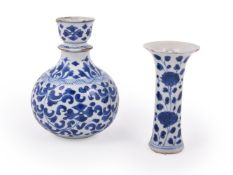 A Chinese blue and white Hookah or Huqa vase