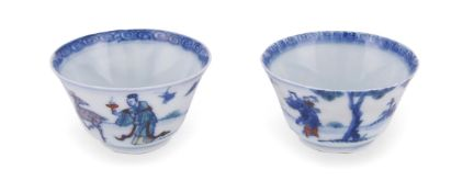 A pair of Chinese doucai wine cups