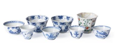 Five Chinese blue and white tea bowls