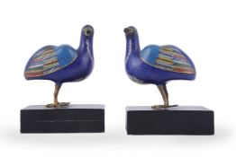 A pair of Chinese Cloisonné enamel 'Quail' censers and covers