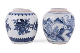Two Chinese blue and white ginger jars