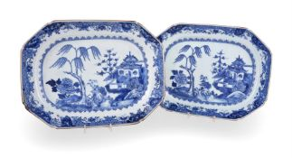 A pair of Chinese blue and white serving dishes