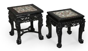 Two good Chinese porcelain-mounted hardwood stands