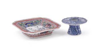 A Japanese Shonzui porcelain blue and white sakazuki stand