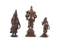 Three Indian bronze deities