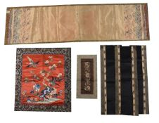 A group of six Chinese embroideries