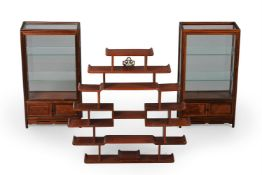 A pair of Chinese hardwood and burr wood table top display cabinets