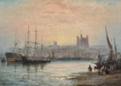 William (Anslow) Thornley (British c.1830-1898), Rochester Harbour at dusk