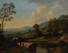 Johann Christian Vollerdt (German 1708-1769) , Villagers in a castle landscape