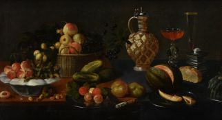 Circle of Juan van der Hamen y León (Spanish 1596 - 1632), A basket and plates of fruit on a table