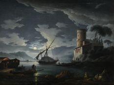 Carlo Bonavia (Italian fl. 1788), Mediterranean harbour by moonlight