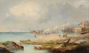 Follower of James Webb, Boats at low tide