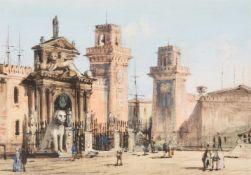Carlos Grubacs (Italian 1801-1878), View of the Arsenale, Venice