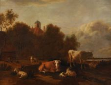 Albert Jansz Klomp (Dutch c.1618-1688), Cattle, sheep and goats by a barn with houses and church