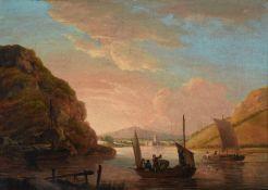 John Thomas Serres (British 1759-1825), Fishermen in a river landscape