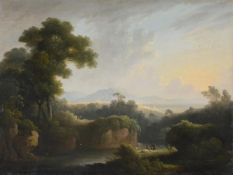 John Rathbone (British 1750-1807), Two figures resting beside a river, with wooded landscape beyond