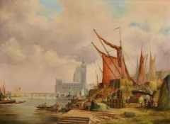 English School (19th century), Barges on the Thames with the Palace of Westminster beyond