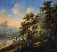 Circle of Isaac de Moucheron (Dutch 1667-1744), Travellers in a wooded river landscape