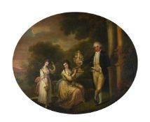 Follower of William Hamilton, Elegant figures before a flower-wreathed urn in landscape garden