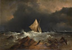 Richard Brydges Beechey (British 1808-1895), Fishing boat off the coast in a storm