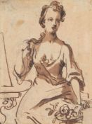 English School (circa. 1700), Portrait of a seated lady with flowers