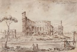 Follower of Francesco Guardi, Colosseum and Arch of Titus, Rome