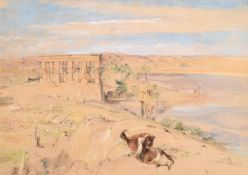 John Frederick Lewis (British 1805-1876), The Hypaethral Temple at Philae, Upper Egypt