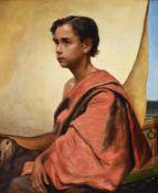 Frederick Goodall (British 1822-1904), Boy on a felucca