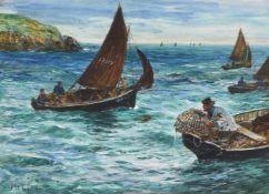 John Robertson Reid (British 1851-1926)A Cornish fishing fleet