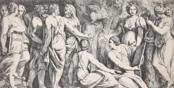 After Polidoro da Caravaggio, A group of poets and Muses on Mount Parnassus