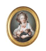 François Hubert Drouais (French 1727-1775), A boy with a sketchbook; A girl with a kitten