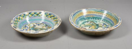 A pair of Spanish maiolica polychrome large conical basins