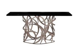 A Villiers Bros Revolution iron and black lacquered console table