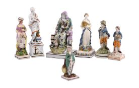 A group of seven various Staffordshire pearlware figures