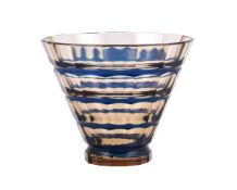 A Val St. Lambert cased glass conical vase