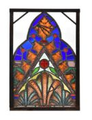 A Gothic Revival stained glass window panel