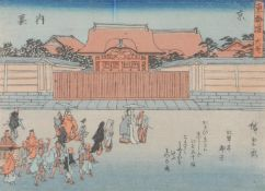 Five Japanese Woodblock Prints by or after Ando Hiroshige ( 1797-1858); all framed and glazed