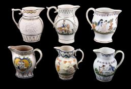 A selection of Staffordshire/South Yorkshire pearlware jugs