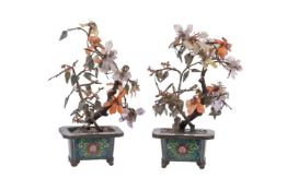A pair of Chinese cloisonné and hardstone vases of flowers