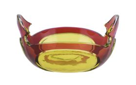 A Val St. Lambert cased glass two handled bowl