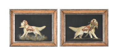 A pair of silk embroidered pictures of gun dogs