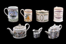 A selection of Staffordshire/South Yorkshire pearlware