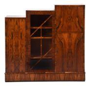 Y An Art Deco rosewood veneered side cabinet
