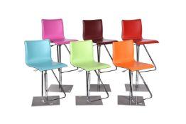 A set of six bar stools